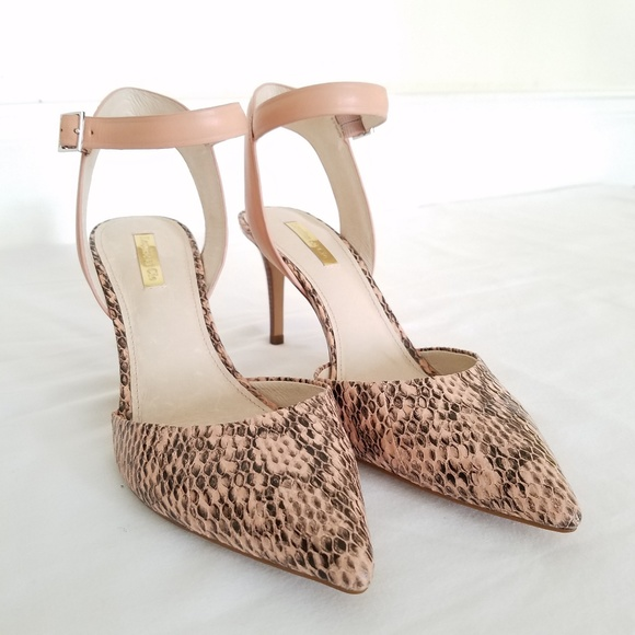 84629856260b New Louise et Cie Heels Ankle Strap Snake Print